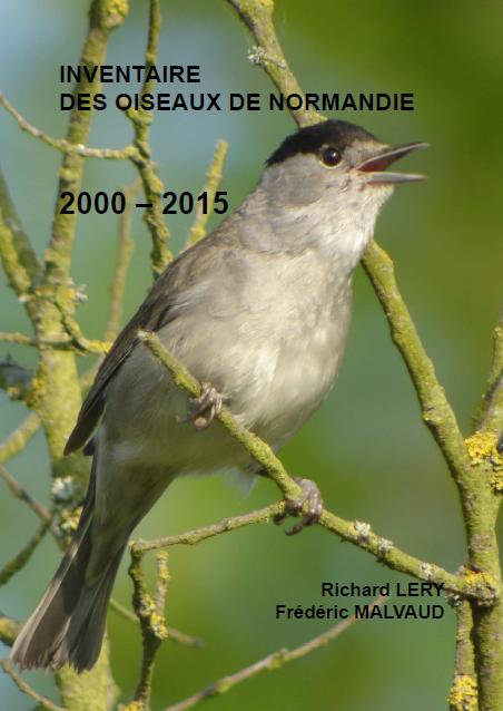 couverture avec une fauvette à tête noire du livre Inventaire des oiseaux de Normandie de 2000 à 2015